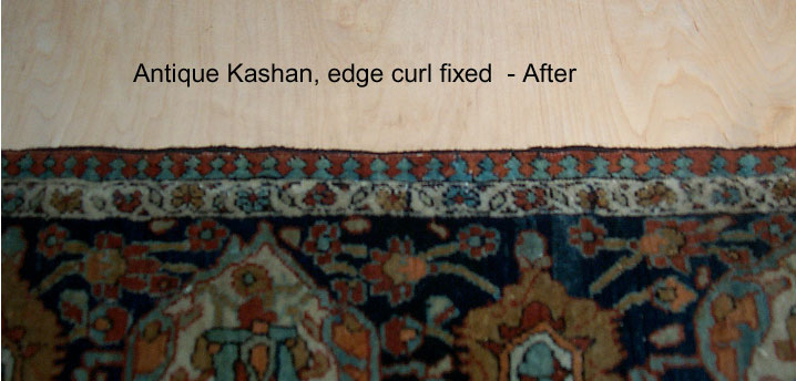 Antique Kashan - After, Curled Edges Fixed