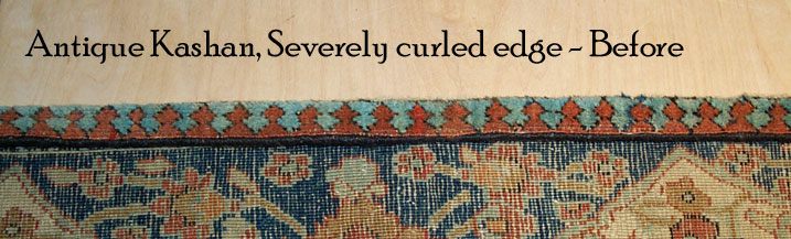 Antique Kashan - Severely Curled Edges