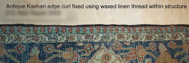 Antique Kashan With Curled Edges Fixed Using Waxed Linen Thread Within Structure