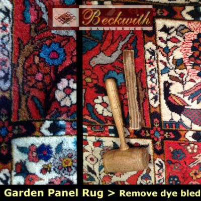 Bakhtiari Garden Panel Rug - Dye Bled Wool Removal and Reweave