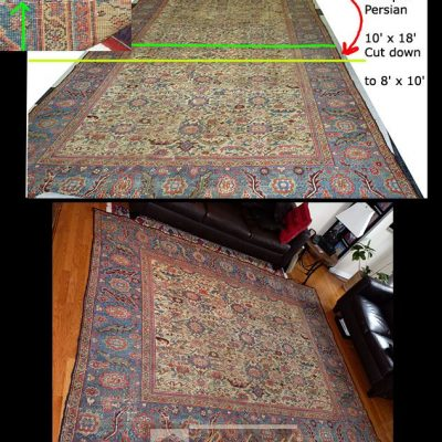 Antique Persian Carpet from the 1800's  | 10' x 18' Cut Down to 8' x 10'