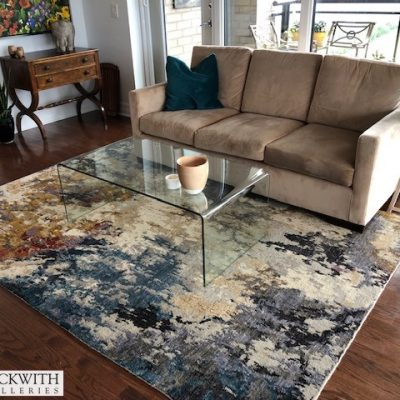 6 x 9 Modern wool silk rug from India in Living Room